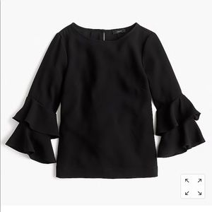 J Crew Tiered bell-sleeve top in drapey crepe 4